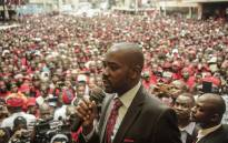 FILE: Zimbabwe opposition party Movement for Democratic Change (MDC) acting President Nelson Chamisa delivers a speech outside the party headquarters Harvest House in Harare on 18 February 2018. Picture: AFP.
