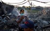 At least 47 people have been killed and dozens injured after a blaze tore through an Indonesian fireworks factory. Picture: @ajplus/Twitter.