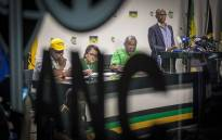 Members of the ANC's NEC address the Press on whether President Jacob Zuma will step down. Picture: Thomas Holder/EWN