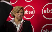 Absa CEO Maria Ramos in front of the new logo for Absa South Africa. Picture: Kayleen Morgan/EWN