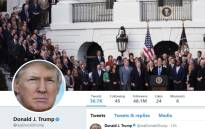 A screengrab showing the masthead of President Donald Trump's @realDonaldTrump Twitter account.