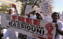 Friends of Sheikh Bassiouni marched to the African Union Summit in Sandton demanding his release from an Egyptian prison. Picture: Vumani Mkhize/EWN.