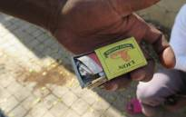 Drug nyaope concealed in a matchbox by addict. Photo: Louise McAuliffe