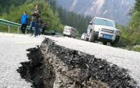 A crack, caused by an earthquake, is seen on a road in Jiuzhaigou in China's southwestern Sichuan province on 9 August, 2017. Picture: AFP