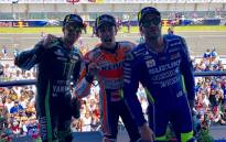 Tech3 Yamaha rider Johann Zarco, Repsol Honda's Dani Pedrosa and Suzuki rider Andrea Iannone on the podium following the Spanish GP at the Jerez circuit on 6 May 2018. Picture: @MotoGP/Twitter