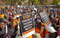 Hundreds of men have gathered in Pretoria on Tuesday morning for the 100 Men March. Picture: Louise McAuliffe/EWN
