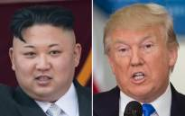 FILE: A combination of file photos of North Korean leader Kim Jong-Un and US President Donald Trump. Picture: AFP.