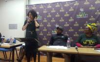 Human Settlements Minister Lindiwe Sisulu at the Cape Peninsula University of Technology in Bellville. Picture: Monique Mortlock/EWN.