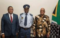 Police Minister Fikile Mbalula standing next to the new National Police Commissioner, Khehla Sitole, after being appointed by President Jacob Zuma on 22 November 2017. Picture: Supplied
