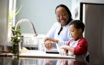 black-child-mother-parent-cleaning-kitchen-home-kids-familyjpg