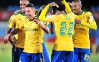 Mamelodi Sundowns celebrate after scoring a goal. Picture: Twitter/@Masandawana.