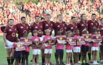 Maties players lineup before a Varsity Cup game. Picture: @varsitycup/Twitter