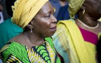 Former African Union (AU) chairperson Nkosazana Dlamini-Zuma waits to address a crowd of ANC supporters after her arrival from Ethiopia at OR Tambo International Airport in Johannesburg on 15 March 2017. Picture: Reinart Toerien/EWN
