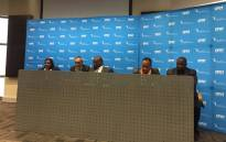 CPUT's acting vice-chancellor Chris Nhlapo and his executives briefing the media on what he calls an unprecedented crisis at the institution. Picture: Ilze-Marie Le Roux/EWN.