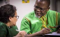 ANC Secretary General addresses his Deputy Jessie Duarte at Luthuli house during a Press briefing concerning the resignation of President Zuma. Picture: Thomas Holder/EWN