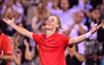Denis Shapovalov of Canada celebrates his victory over Rafael Nadal of Spain during day seven of the Rogers Cup at Uniprix Stadium on 10 August 2017 in Canada. Picture: AFP.