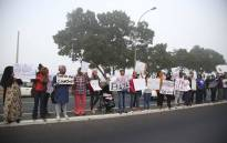 Elsies River residents made a picket outside of the Goodwood Magistrate's court where the man accused of murdering Courtney Pieters appeared. Picture: Cindy Archillies
