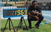 Clarence Munyai broke the SA 200m record at the Tuks Stadium on 16 March 2018. Picture: Twitter/@Wesbotton