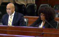 A screengrab of NPA head Shaun Abrahams and acting Hawks head Yolisa Matakata briefing MPs on the status of investigations into state capture, on 7 March 2018.