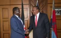 Kenyan President Uhuru Kenyatta (right) and opposition leader Raila Odinga (left) met on Friday 9 March 2018. Picture: @UKenyatta/Twitter