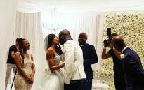 DJ Black Coffee and Mbali Mlotshwa celebrated their marriage during a white wedding. Picture: @khanyidhlomo/instagram.com