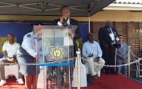 Police Minister Fikile Mbalula address the crowd after officially opening the Glebelands satellite police station. Picture: MbalulaFikile/Twitter.