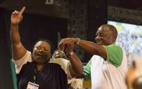Newly elected ANC president Cyril Ramaphosa (right) and party members celebrate at the 54th national conference on 18 December 2017. Picture: Sethembiso Zulu/EWN