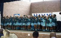 The school choir sings in celebration of the opening of the New Mariana school on 23 March 2018. Picture: Kayleen Morgan/EWN