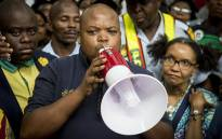 ANCYL President Collen Maine addresses the crowd at OR Tambo International Airport after the arrival of former AU Chairperson Nkosazana Dlamini-Zuma on 15 March. Picture: Reinart Toerien/EWN.