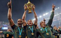 The Springbok backs JP Pietersen, Percy Montgomery and Brian Habana celebrate winning the 2007 Rugby World Cup final against England at the Stade de France in Paris on 20 October 2007. Picture: AFP