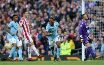 Manchester City's Raheem Sterling celebrates after scoring a goal against Stoke City at the Etihad Stadium. Picture: @ManCity/Twitter.