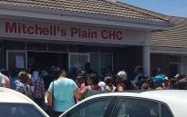 Mitchells Plain residents queue at the Mitchells Plain Community Health Centre following delays. Picture: Supplied.