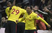 Watford striker Troy Deeney and teammates celebrate after scoring a goal against Arsenal in the Premier League. Picture:  @WatfordFC/EWN.