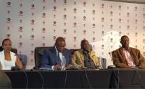 Irvin Khoza and Senzo Meyiwa's father, Sam, at briefing to discuss the slain footballer's insurance payout. Picture: Morena Mothupi/EWN