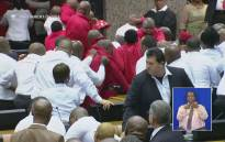 Members of the EFF disrupt proceedings at the State of the Nation Address on Thursday, 9 February 2017. Picture: YouTube Screengrab.