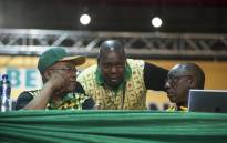 Zweli Mkhize chats with President Zuma and Deputy President Cyril Ramaphosa during the nominations process at the ANC's national conference on 17 December 2017. Picture: Ihsaan Haffejee/EWN