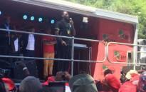 Student leader Mcebo Dlamini supports EFF leader Julius Malema in Bloemfontein on 14 November 2016. Picture: Clement Manyathela/EWN