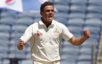 Australia's left-arm spinner Steve O'Keefe celebrates taking a wicket during their match against India. Picture: Twitter/@CricketAus.