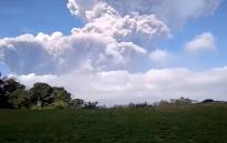 A screengrab of Indonesia's Mount Sinabung erupting.