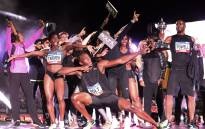 Jamaica's Olympic champion Usain Bolt celebrates with team mates during the final night of the Nitro Athletics series. Picture: Twitter/ @nitro_aths.