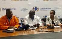 Gauteng Premier David Makhura (centre) during a visit to the Steve Biko Academic Hospital in Pretoria. Picture: @GautengProvince/Twitter