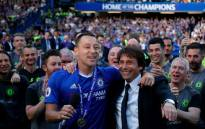 Chelsea captain John Terry (L) seen with Antonio Conte (R), Chelsea's boss. Picture: @ChelseaFC.