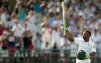 South African batsman Temba Bavuma celebrates after scoring a century (100 runs) during day 4 of the second Test match between England and South Africa at the Newlands stadium on 5 January 2016 in Cape Town, South Africa. Picture: AFP