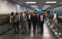 Home Affairs Minister Malusi Gigaba, 3rd from right, arrives at OR Tambo International Airport for his walkabout and briefing on their preparedness for the season. Picture: Victor Magwedze/EWN.