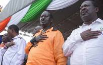 Kenyan opposition leader Raila Odinga, centre. Picture: @RailaOdinga/Twitter