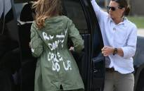 US First Lady Melania Trump departs Andrews Air Rorce Base in Maryland 21 June, 2018 wearing a jacket emblazoned with the words 'I really don't care, do you?' following her surprise visit with child migrants on the US-Mexico border. Picture: AFP