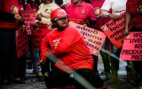 Cosatu members picket outside The Chamber of Mines in Johannesburg CBD. Picture: Kayleen Morgan/EWN