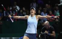 France's Caroline Garcia celebrates winning her group stage match against Denmark's Caroline Wozniacki. Picture: @WTA/Twitter.