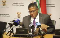 Police Minister Fikile Mbalula addresses the media at a briefing in Parliament. Picture: Cindy Archillies/EWN