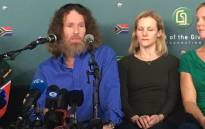 Stephen McGown (left) makes his first public appearance since being released by al-Qaeda in Mali. Picture: Hitekani Magwedze/EWN